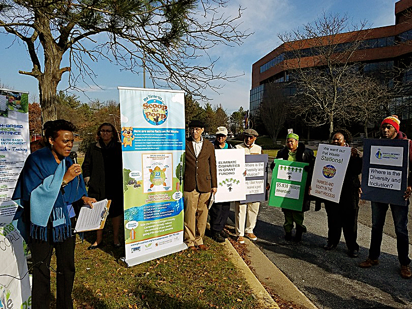 Sandra Pruitt (left), executive director of the People for Change Coalition, discusses the complaint her group filed against the Prince George's County Department of the Environment for racial discrimination during a press conference in Largo on Dec. 1. (William J. Ford/The Washington Informer)