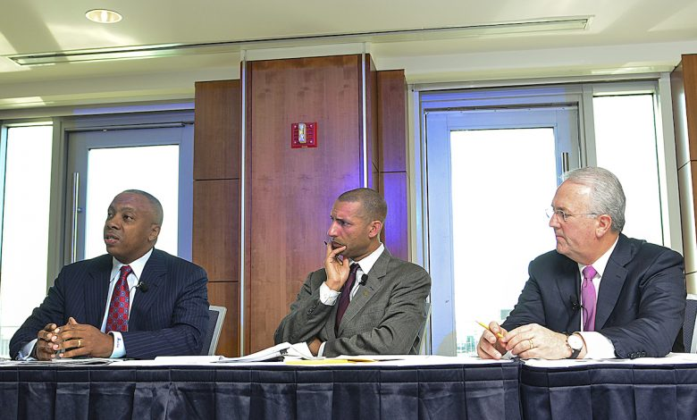 From left: Dr. Calvin Mackie, motivational speaker and founder of STEM NOLA, Spencer Overton, president of the Joint Center for Political and Economic Studies, and Jack Gerard, president and CEO of the American Petroleum Institute, talk about diversity and inclusion in the oil and natural gas industry during a panel discussion at George Washington University in D.C. (Freddie Allen/AMG/NNPA)