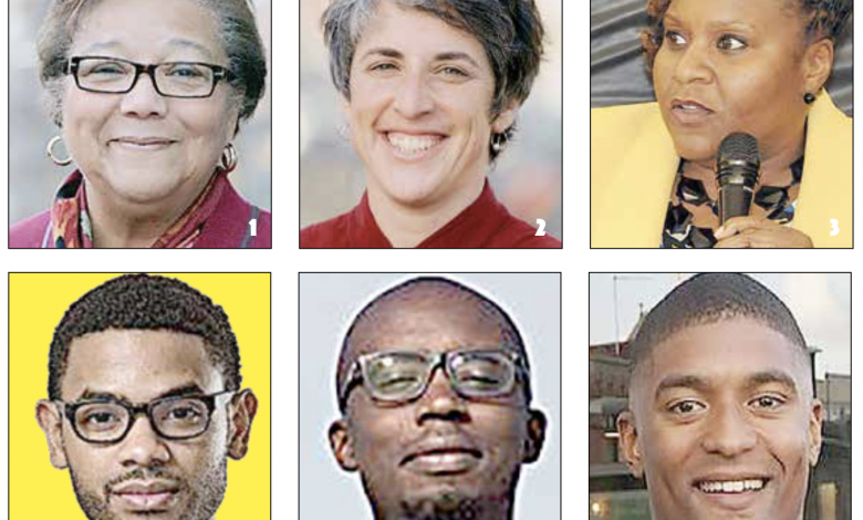 1. At-Large Council member Anita Bonds 2. At-Large Council member Elissa Silverman 3. At Large Council candidate Dionne Bussey-Reeder 4. At-Large Council candidate Aaron J. Holmes 5. At-Large Council candidate Jeremiah Lowery 6. At-Large Council candidate Marcus Goodwin (Courtesy photos)