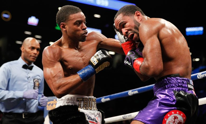 "IBF welterweight champion Errol ""The Truth"" Spence Jr. (left) defeated D.C.'s Lamont Peterson at Barclays Center in Brooklyn, New York, on Jan. 20. (Courtesy of Ed Diller/DiBella Entertainment)"