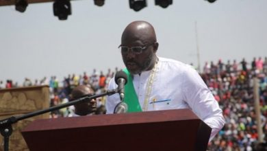 George Weah, the new president of Liberia, speaks during his swearing-in ceremony at a stadium in the capital of Monrovia on Jan. 22. (Courtesy of emansion.gov.lr)