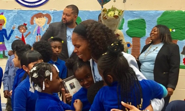 Tumeka Coleman, a third-grade teacher at Walker-Jones Education Campus in Northwest, has been named as DCPS' 2018 teacher of the year. (Courtesy of Walker-Jones Education Campus via Twitter)