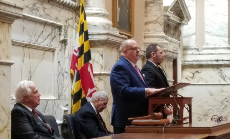 Maryland Gov. Larry Hogan talks about job growth, paid sick leave and bipartisanship during his State of the State address in Annapolis on Jan. 31. (William J. Ford/The Washington Informer)