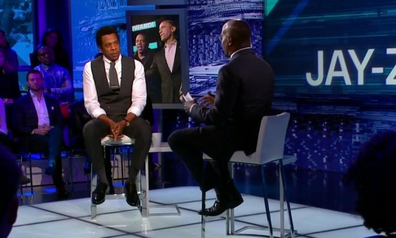"Rapper and music mogul Jay-Z speaks with CNN host Van Jones during the Jan. 28 premiere of ""The Van Jones Show."""