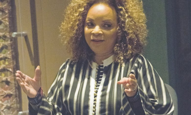 "Costume designer Ruth E. Carter speaks about her creations for the film ""Black Panther."" (Shevry Lassiter/The Washington Informer)"