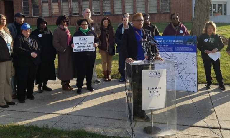 Prince George's County Educators' Association President Theresa Mitchell Dudley speaks during a March 8 press conference in front of the county's school administration building in Upper Marlboro. (William J. Ford/The Washington Informer)