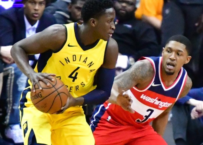 Indiana Pacers guard Victor Oladipo fends off Washington Wizards guard Bradley Beal during the Wizards' 109-102 win at Capital One Arena in D.C. on March 17. (John De Freitas/The Washington Informer)