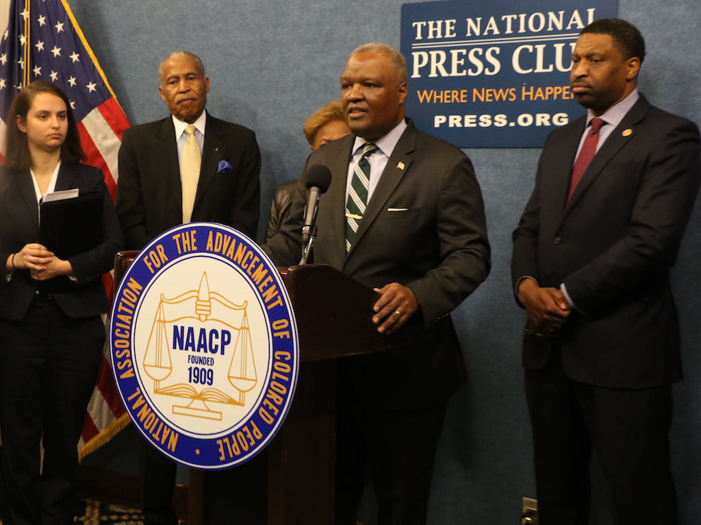 Prince George's County Executive Rushern Baker discusses the County's participation in the NAACP's lawsuit against the U.S. Census. Standing with Baker are (from left) Bob Ross, president of the Prince George's County NAACP branch, H. Elizabeth Johnson, and NAACP President Derrick Johnson. (Shevry Lassiter/The Washington Informer)