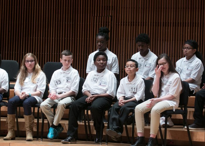 Spellers await their turn during the 2018 Prince George's County Spelling Bee held at the Clarice Smith Performing Arts Center in College Park, Maryland on March 16. (Shevry Lassiter/The Washington Informer)