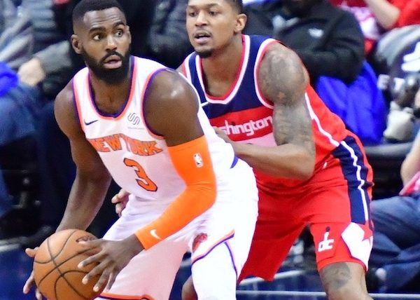 Washington Wizards guard Bradley Beal defends New York Knicks small forward Tim Hardaway Jr. in the first quarter of the Knicks' 101-97 win at Capitol One Arena in D.C. on March 25. (John De Freitas/The Washington Informer)