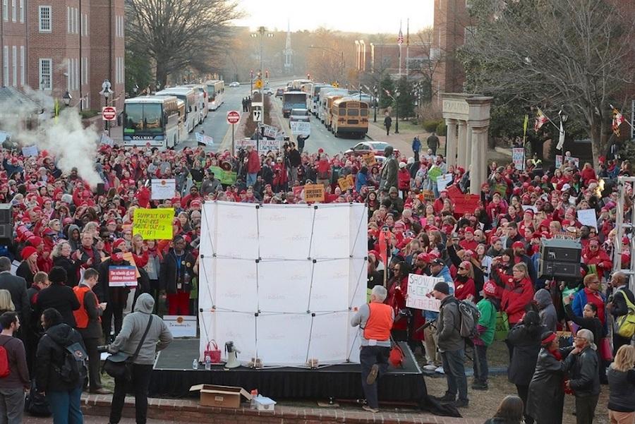 Educators rally in Annapolis on March 19 to urge lawmakers to approve legislation that ensures casino revenue enhances education. (Demetrious Kinney/The Washington Informer)
