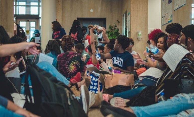 Student demonstrators occupy Howard University's administration building during a sit-in to protest a financial aid scandal at the school. (Jazmin Goodwin/Howard University News Service)