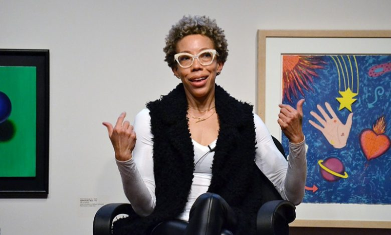 Artist Amy Sherald speaks during a March 29 event at the University of Maryland's David C. Driskell Center in College Park. (Brigette White/The Washington Informer)