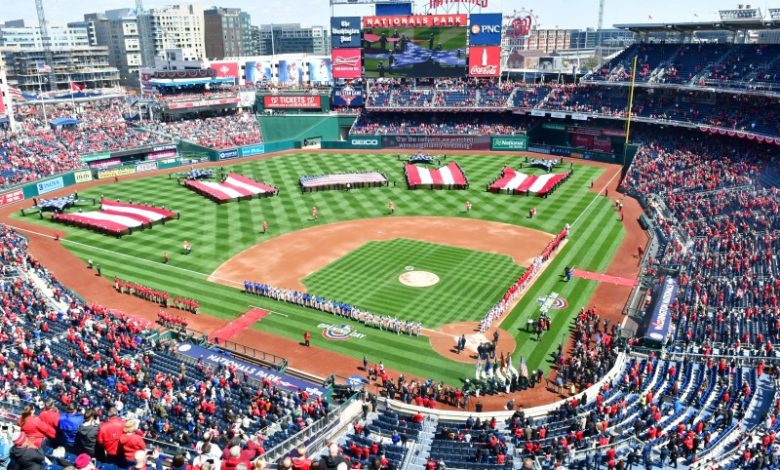 An aerial view of Nationals Park in southeast D.C. shows a military display of U.S. flags prior to the Washington Nationals' 2018 home opener against the New York Mets on April 5. (John E. De Freitas/The Washington Informer)
