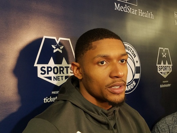 Washington Wizards guard Bradley Beal speaks with reporters in D.C. after practice on April 13, one day before Game 1 of the team's first-round playoff series against the Toronto Raptors. (William J. Ford/The Washington Informer)