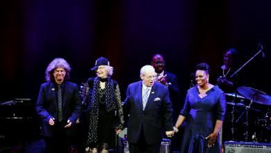 From left: 2018 NEA Jazz Masters Pat Metheny, Joanne Brackeen, Todd Barkan and Dianne Reeves at the 2018 NEA Jazz Masters Tribute Concert on April 16, 2018 at the John F. Kennedy Center for the Performing Arts. (Shannon Finney/National Endowment for the Arts)