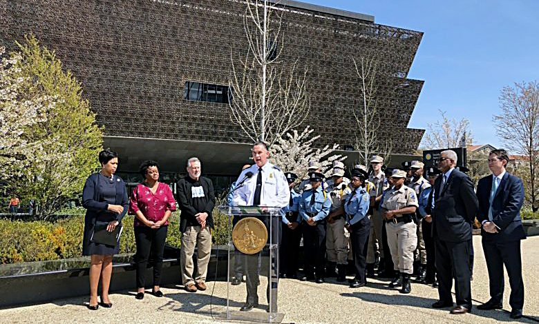 D.C. Mayor Muriel Bowser (left) and Police Chief Newsham announce a mandatory class for Metropolitan Police Department employees on race theory in partnership with the University of the District of Columbia on April 13. (Courtesy of MPD)