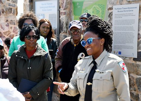National Park Service Ranger and Assistant Manager Angela Crenshaw welcomes the group and gives a detailed overview of the Harriett Tubman Underground Railroad Visitors Center and State Park in Dorchester County opened in the spring of 2017. (Roy Lewis/The Washington Informer)