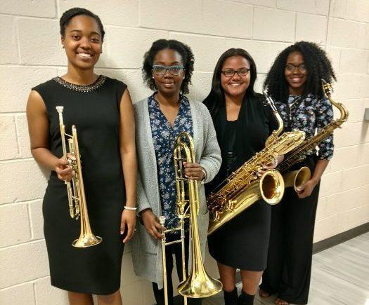 The Ladies of the Howard University Jazz Ensemble (from left) Jalissa Douglas on trumpet, Krystal Campbell on trombone, Dionne Ledb etter on baritone sax and Sterlyn Termine on alto sax. (Brenda C. Siler/The Washington Informer)