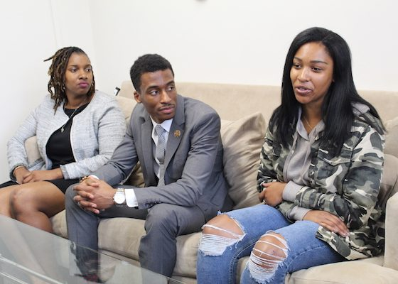 From left: Howard University Law School students Ky'eisha Penn, Elijah Porter and Hayley Tharpe discuss their work with the school's Thurgood Marshall Civil Rights Center. (Brigette White/The Washington Informer)