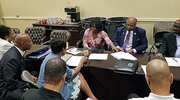 Maryland Delegate Dianna Fennel (center) speaks about economics in Annapolis during a May 15 meeting of Black lawmakers to prepare an agenda for the Black community in the state. (William J. Ford/The Washington Informer)