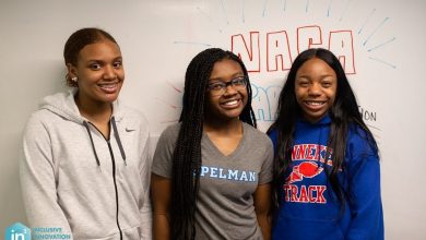 The S3Trio team from Benjamin Banneker Academic High School. From left: India Skinner, Mikayla Sharrieff and Bria Snell. (In3)