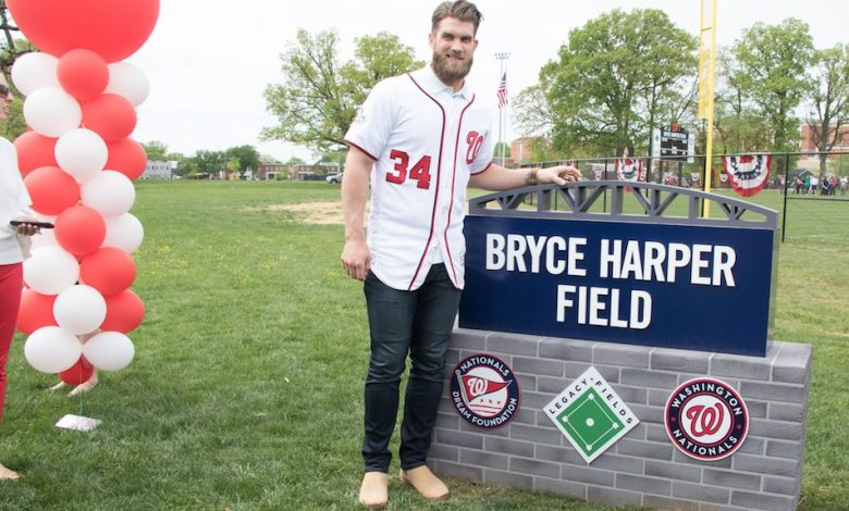Bryce Harper at the dedication of the new Bryce Harper Field in Takoma Park. (Shevry Lassiter/The Washington Informer)