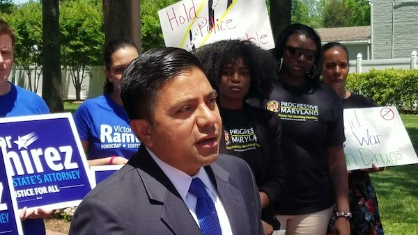 Maryland state Sen. Victor Ramirez speaks with reporters in Upper Marlboro on May 24 after receiving an endorsement from Progressive Maryland in his bid for Prince George's County state's attorney. (William J. Ford/The Washington Informer)