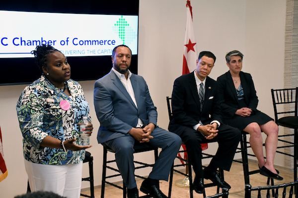 Dionne Bussey-Reeder, candidate for an at-large D.C. Council seat, speaks during a May 2 candidates' forum at the D.C. Chamber of Commerce in Northwest. (Roy Lewis/The Washington Informer)