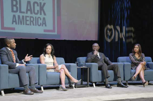 "TV One and the National Urban League joined forces to host a televised town hall taping on May 8 that will air July 29, on ""The State of Black America."" Panelists who weighed in on health care and voting/civic engagement in the second of two discussions include (from left) Shermichael Singleton, political strategist; Linda Goler Blount, president/CEO, Black Women's Health Initiative; Benjamin Crump, civil rights attorney; and Angela Yee, radio personality. (Roy Lewis/The Washington Informer)"