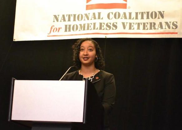 Kathryn Monet, CEO of the National Coalition for Homeless Veterans, greets attendees during the National Council for Homeless Veterans annual conference at the Grand Hyatt Hotel in northwest D.C. on May 30. (Brigette White/The Washington Informer)