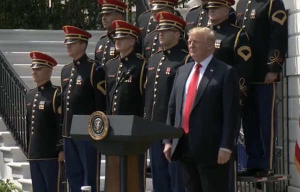 "President Donald Trump holds a ""Celebration of America"" ceremony at the White House on June 5 in lieu of hosting the Super Bowl champion Philadelphia Eagles, a day after rescinding the team's invitation."