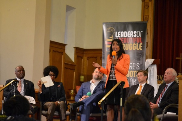 Krish Vignarajah, Maryland gubernatorial hopeful, speaks during a candidates' debate at New Waverly United Methodist Church in Baltimore on June 2. (Brigette White/The Washington Informer)