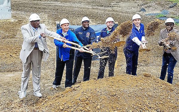 Prince George's County Executive Rushern L. Baker III (third from left) joins others for the June 22 groundbreaking ceremony of Topgolf, a golf entertainment complex scheduled to open next year in Oxon Hill. (William J. Ford/The Washington Informer)