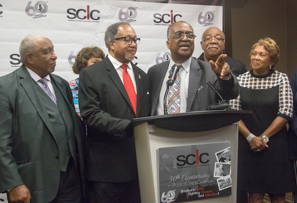 From left: Southern Christian Leadership Conference (SCLC) Chair Bernard Lafayette Jr., National Newspaper Publishers Association President and CEO Benjamin Chavis, SCLC President and CEO Charles Steele Jr., Rev. Charles McCollum and Cathelean Steele hold a press conference for the Southern Christian Leadership Conference's 60th annual convention, held July 12-15 at the Renaissance Hotel in D.C. (Shevry Lassiter/The Washington Informer)