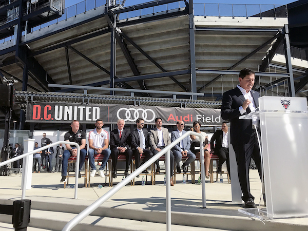 D.C. United hosted a ribbon-cutting ceremony and housewarming party to celebrate the opening of their new state-of-the-art and soccer-specific stadium at Audi Field on July 9. Speakers from D.C. United, the District of Columbia and Audi address the media and audience during the ceremony. (Courtesy of Yusuf Abdullah)