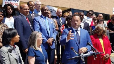 Maryland Democratic gubernatorial nominee Ben Jealous speaks during an Aug. 23 campaign rally outside Suitland High School in Forestville as state and county officials and educators look on. (William J. Ford/The Washington Informer)