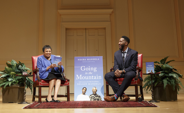 "Librarian of Congress Carla Hayden speaks with Ndaba Mandela, author of ""Going to the Mountain: Life Lessons from My Grandfather, Nelson Mandela,"" on June 27. (Shawn Miller/Library of Congress)"
