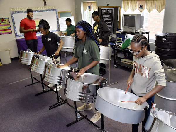 The East of the River Steelband practices at the Episcopal Church of the Atonement in Ward 7 on Aug. 15. (Robert Roberts/The Washington Informer)