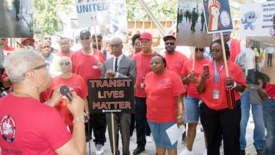 Amalgamated Transit Union Local 689 President Jackie Jeter rallies union workers gathered at Metro Center in northwest D.C. on Aug. 16 to protest the actions of Washington Area Metro Transit Authority days earlier when White nationalists rallied in the city. (Shevry Lassiter/The Washington Informer)