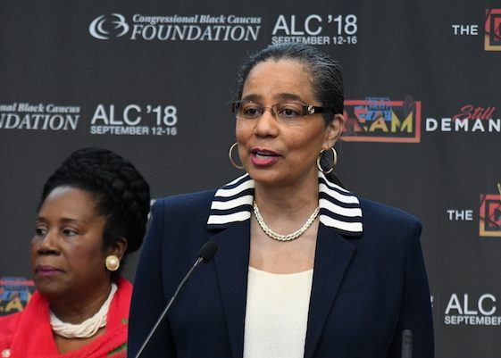A. Shuanise Washington, president and chief executive officer of the Congressional Black Caucus Foundation, Inc., speaks during the opening day of the CBCF's 2018 Annual Legislative Conference in D.C. on Sept. 12. (Roy Lewis/The Washington Informer)