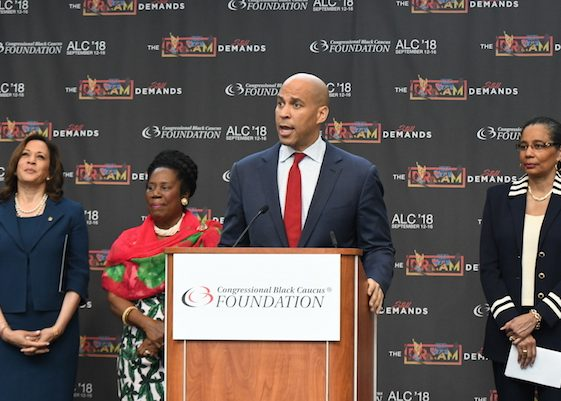 Sen. Cory Booker speaks during the opening day of the Congressional Black Caucus Foundation's 2018 Annual Legislative Conference in D.C. on Sept. 12. (Roy Lewis/The Washington Informer)