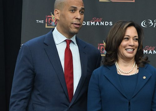 Sens. Cory Booker and Kamala Harris attend the opening day of the Congressional Black Caucus Foundation's 2018 Annual Legislative Conference in D.C. on Sept. 12. (Roy Lewis/The Washington Informer)