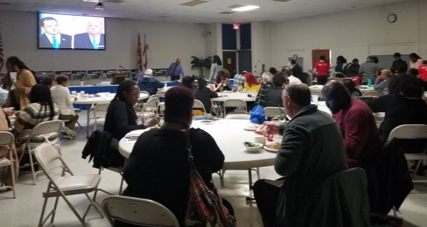 Dozens of Prince George's County residents watch the Sept. 24 gubernatorial debate at the Prince George's County Education Association headquarters in Forestville. (William J. Ford/The Washington Informer)