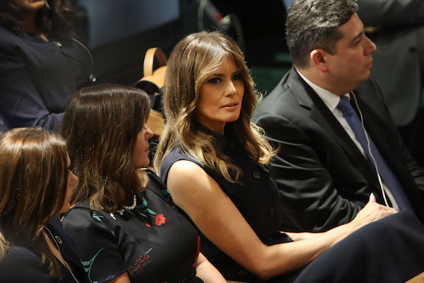 Melania Trump, wife of Donald Trump, watches as President Trump prepares to address the 73rd United Nations (U.N.) General Assembly on September 25, 2018 in New York City. The United Nations General Assembly, or UNGA, is expected to attract 84 heads of state and 44 heads of government in New York City for a week of speeches, talks and high level diplomacy concerning global issues. New York City is under tight security for the annual event with dozens of road closures and thousands of security officers patrolling city streets and waterways. (Photo by Spencer Platt/Getty Images)