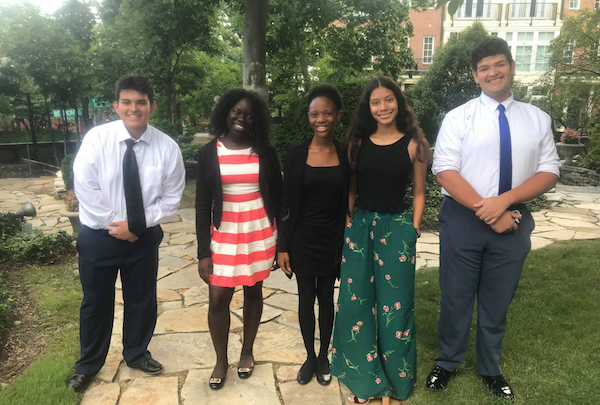 Scholars from Roosevelt Senior High School in Northwest attend the Pan-Africa Youth Leadership Program closing reception at the Meridian International Center in D.C. in August. (Courtesy of DCPS)