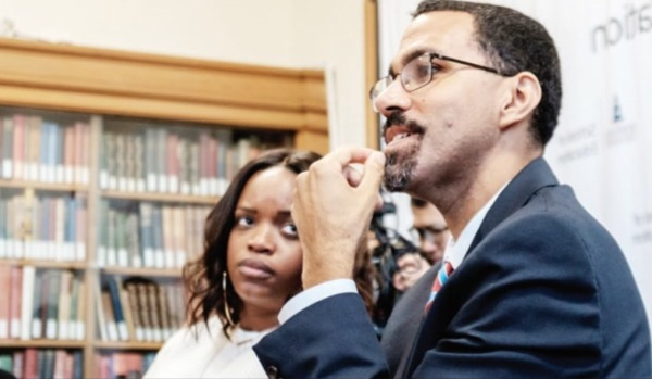 Former U.S. Education Secretary John B. King Jr. and activist Brittany Packnett listen as nine Howard University graduate- and doctoral-level education students weighed in on matters of youth civic engagement at HU's Founders Library on Oct. 22. (Michael McCoy/The Washington Informer)