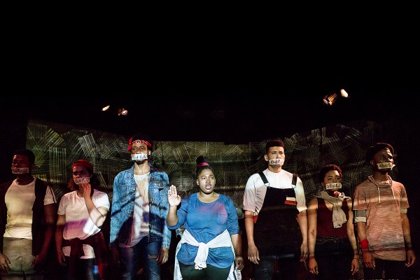 "From left: Oarabile Ditsele,Ameera Conrad,Sizwesandile Mnisi,Tankiso Mamabolo,Cleo Raatus,Zandile MadliwaandSihle Mnqwazanastar in ""The Fall"" at the StudioTheatre. (Oscar O'Ryan/Studio Theatre)"