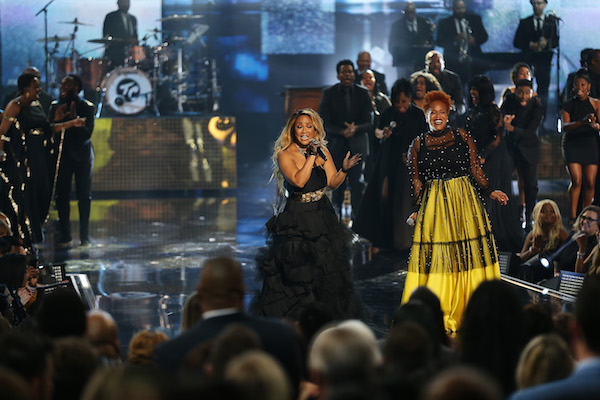 Erica Campbell (L) and Tina Campbell of Mary Mary perform onstage the 2018 American Music Awards at Microsoft Theater on October 9, 2018 in Los Angeles, California. (Photo by Phillip Faraone/WireImage)