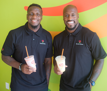 Mohamed Sanu (left) and Vernon Davis have plans to open six Jamba Juice stores in Northern Virginia. (Courtesy of Franchise Elevator PR)
